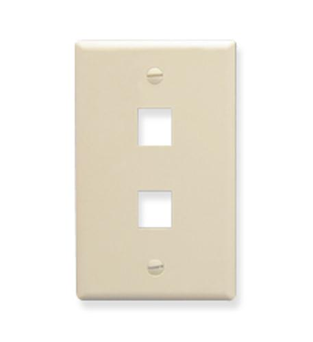 icc faceplate, oversized, 2-port, almond