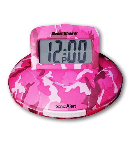 sonic bomb sonic boom alarm clock in pink camo