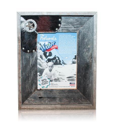 recherche furnishings cowhide frame 5x7 texas old silver