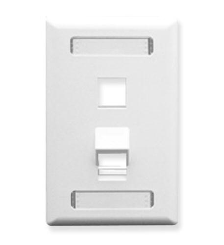 icc faceplate, id, angled, 1-gang, 2-port wh