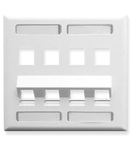 icc faceplate, id, angled, 2-gang, 8-port wh