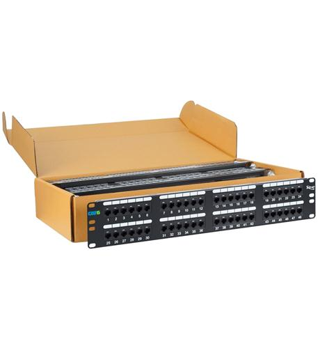 icc patch panel, cat 6, 48-port, 2 rms, 6 pk