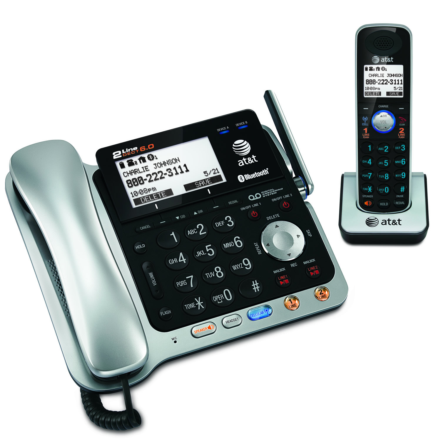 BSSN 2-line Corded/Cordless with ITAD-Cordless Telephones-DECT 6.0 Cordless Phones-Vt