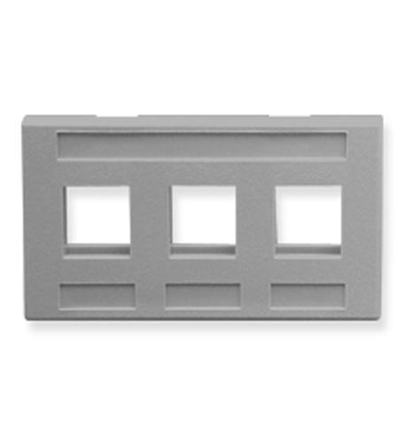 icc faceplate, furniture, 3-port, gray
