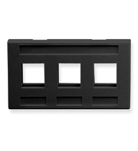 icc faceplate, furniture, 3-port, black