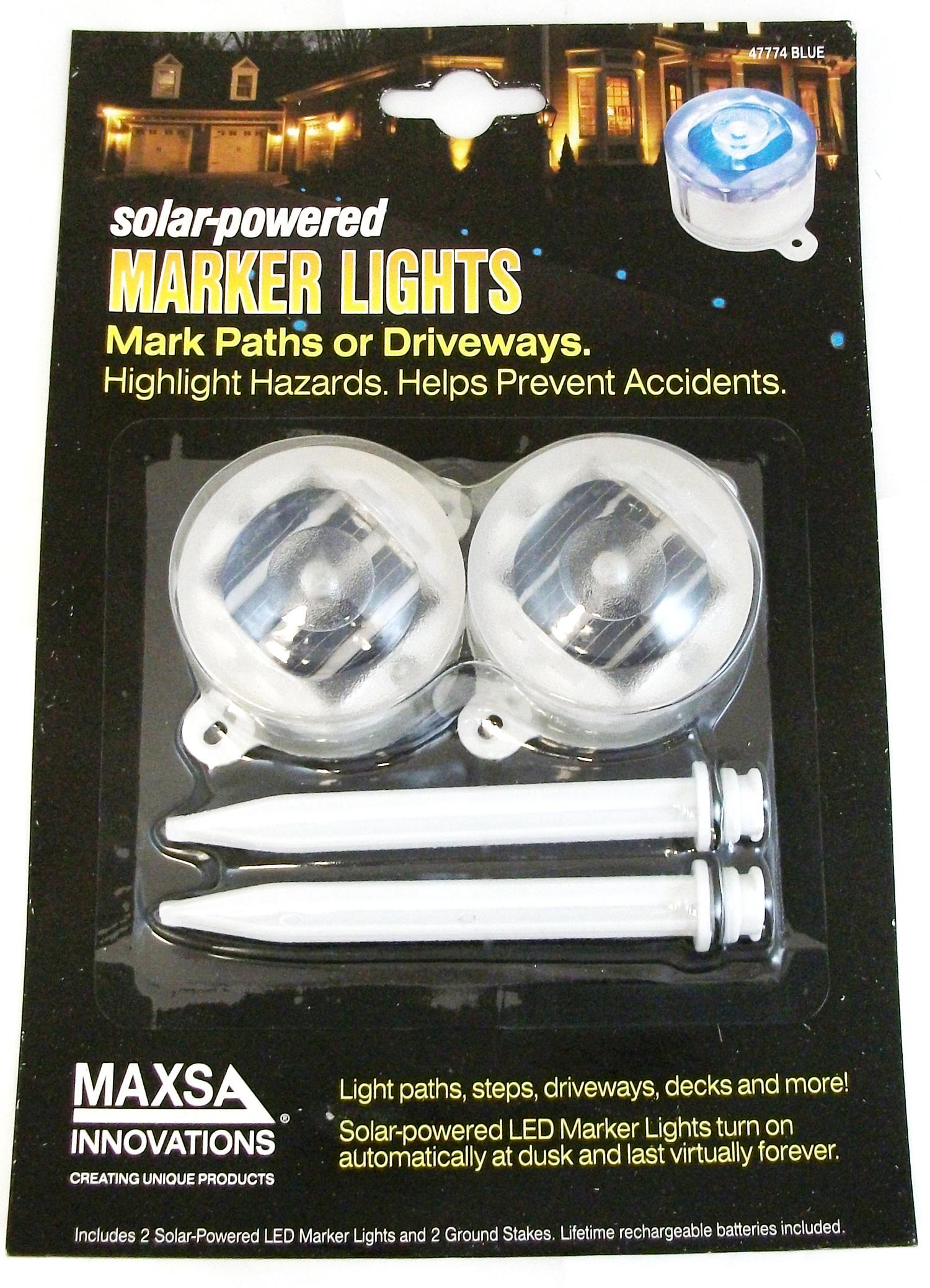 Maxsa Blue Solar Marker Lights - 2 PK
