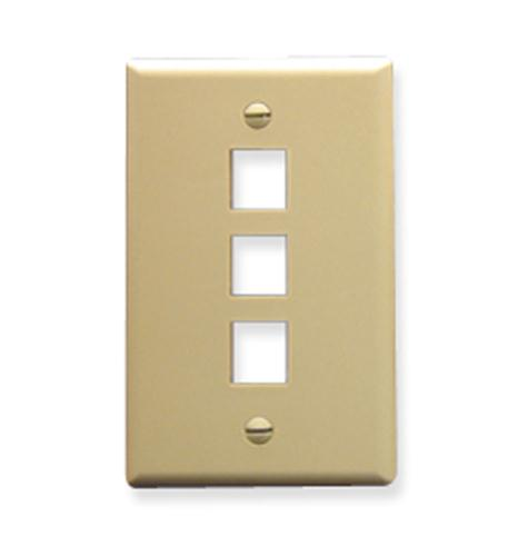 icc faceplate, oversized, 3-port, ivory