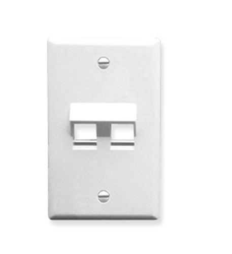 icc faceplate, angled, 1-gang, 2-port, white