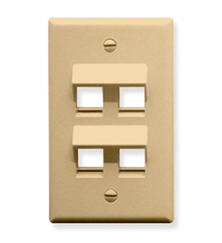 icc faceplate, angled, 1-gang, 4-port, ivory