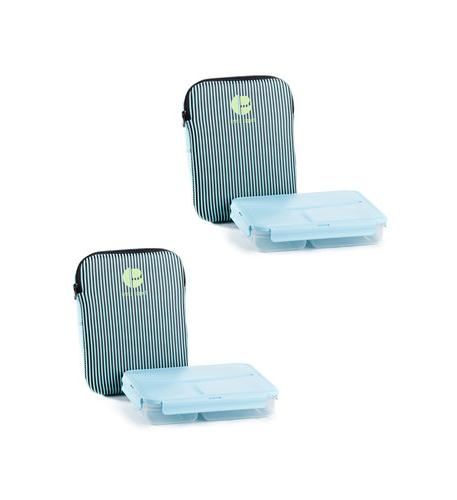 Miscellaneous Brands Striped Lunch Containers in a pack of 4